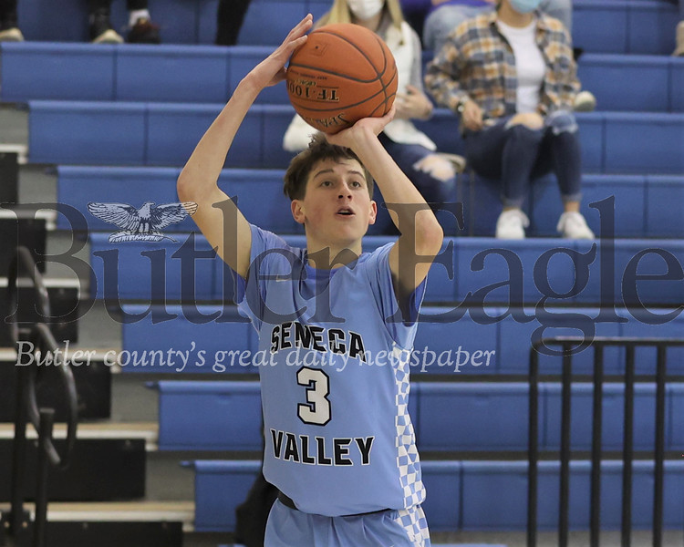 Seneca's Cole Brooks shoots a 3-pointer against Butler Friday. The Raiders topped Butler 87-81 on the road. Seb Foltz/Butler Eagle 01/15/21