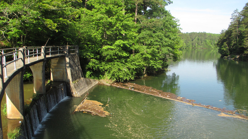 Despite a few odd looks from the resident fisherman I managed a couple shots of the old dam at the north end of the lake...