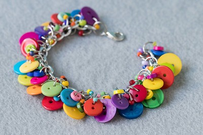 Button Charm Bracelet Bright Colorful Jewelry Fun Multicolored Rainbow Piece August 2018
