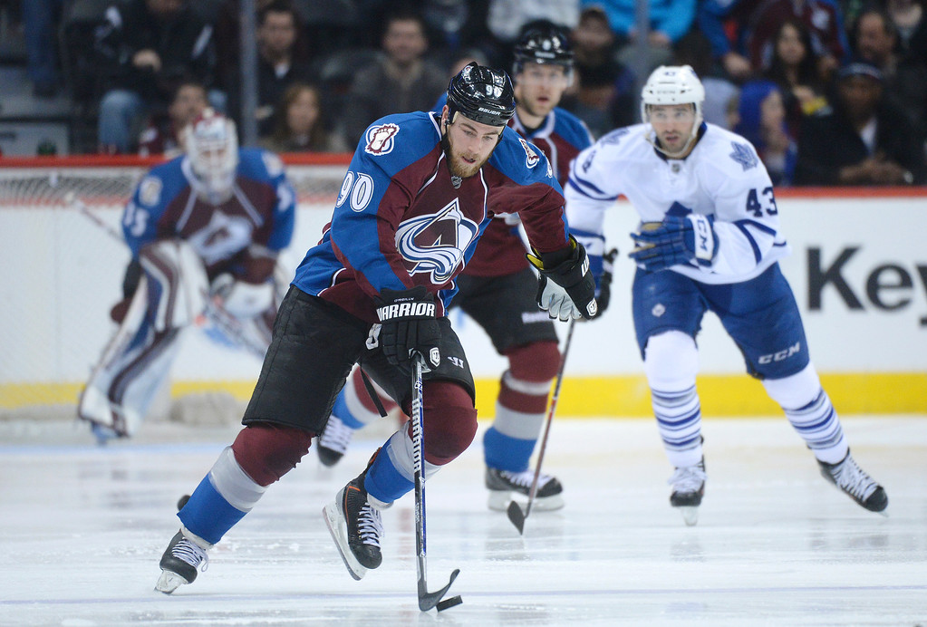 . DENVER, CO. - JANUARY 21:  Avalanche center Ryan O\'Reilly (90) brought the puck up the ice in the third period. The Toronto Maple Leafs defeated the Colorado Avalanche 5-2 Tuesday night, January 21, 2014 at the Pepsi Center. Photo By Karl Gehring/The Denver Post