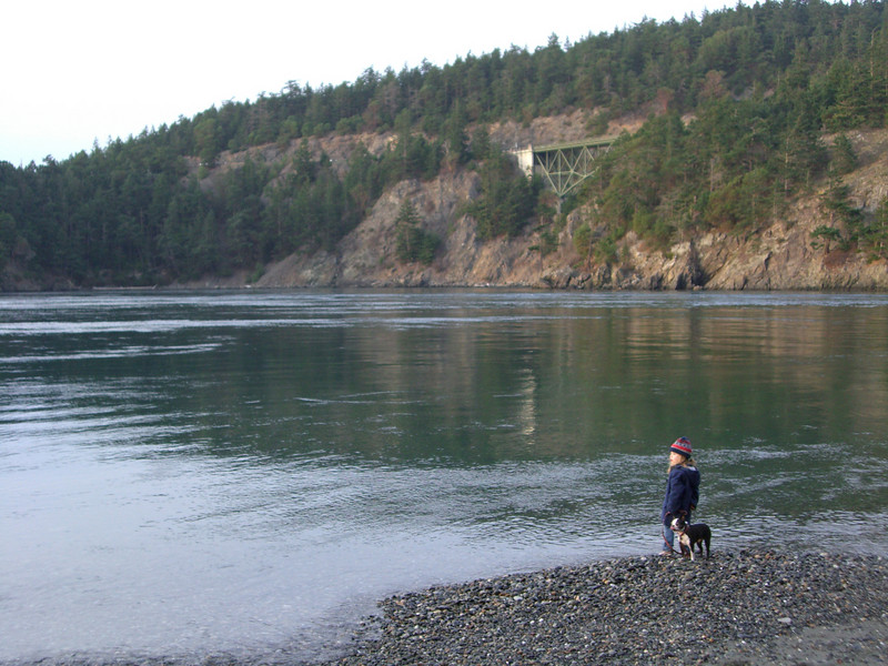 Deception Pass - walking Chloe Monster Head down by the water's edge.