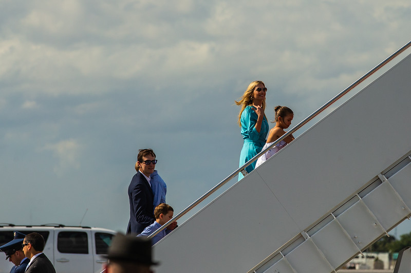 Ivanka and Jared Kushner board Air Force One with their children for the trip back to Washington D.C. on Sunday, March 31, 2019. [JOSEPH FORZANO/palmbeachpost.com]