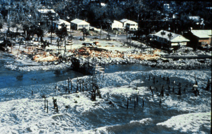 . Remains of Atlantic House Restaurant at Folly Beach after Hurricane Hugo, Late September, 1989. National Hurricane Center. NOAA\'s National Weather Service (NWS) Collection