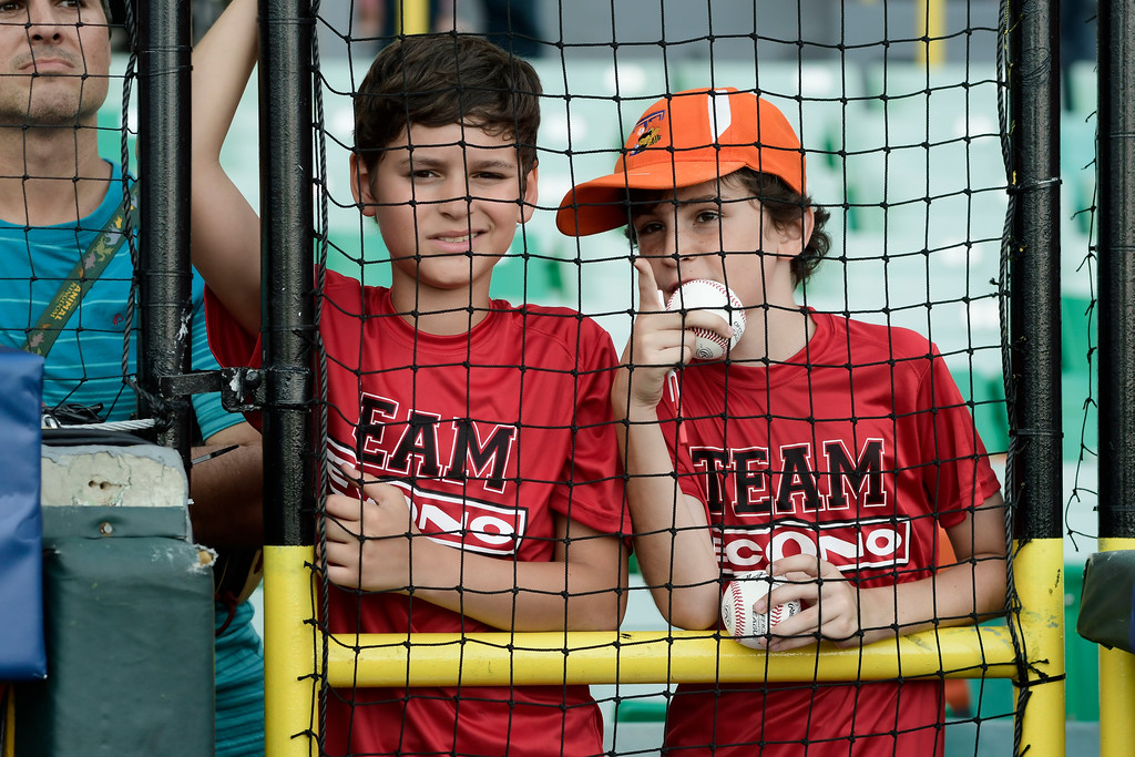 . Boys wait for an opportunity to ask for autographs from the players before the final match of a two-game Mayor League Series between the Minnesota Twins and the Cleveland Indians at the Hiram Bithorn Stadium in San Juan, Puerto Rico, Wednesday, April 18, 2018. (AP Photo/Carlos Giusti)