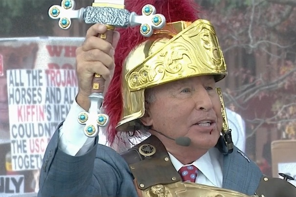 ". <p>7. LEE CORSO <p>�College Gameday� swordsman, apparently, has plenty of time to bleed. (unranked) <p><b><a href=\'http://sports.yahoo.com/blogs/ncaaf-dr-saturday/kirk-herbstreit-draws-blood-lee-corso-face-sword-175513524--ncaaf.html\' target=""_blank\""> HUH?</a></b> <p>   (Photo from YouTube)"
