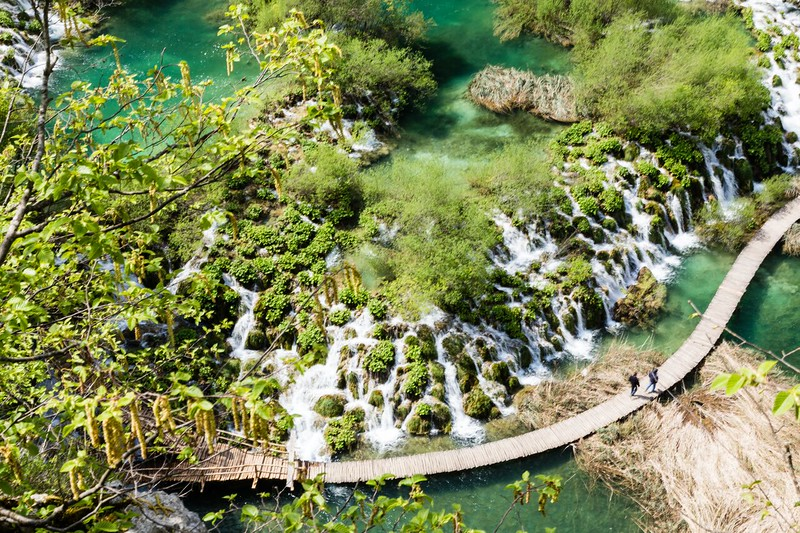 Viewing waterfalls from above at Plitvice Lakes National Park in Croatia.