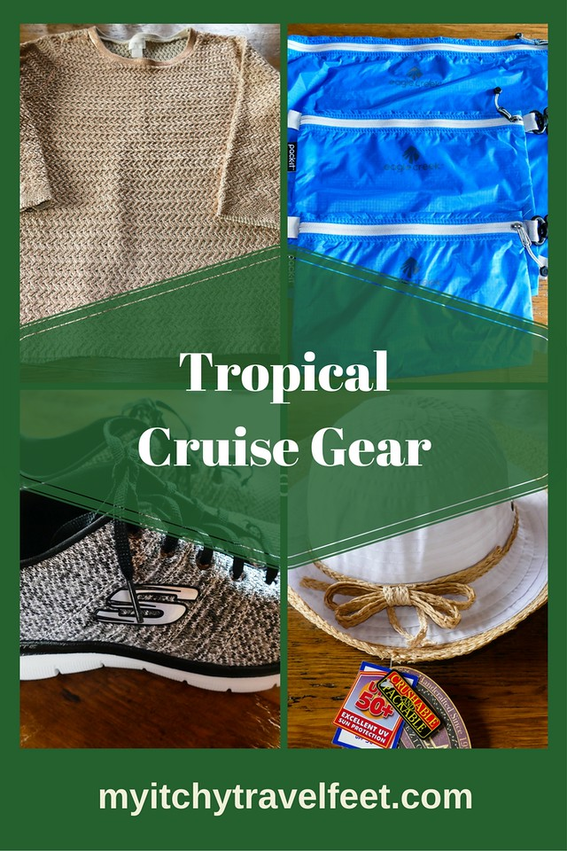 Tropical cruise gear for your warm weather vacation. #cruise #gear #tropicalgetaway #boomertravel #packingtips