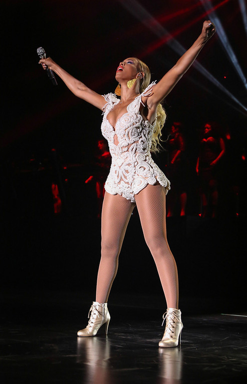 ". Singer Beyonce performs on her ""Mrs. Carter Show World Tour 2013,\"" on Tuesday, Sept. 17, 2013 at the Estadio Nacional in Brasilia, Brazil. (Photo by Nick Farrell/Invision for Parkwood Entertainment/AP Images)"