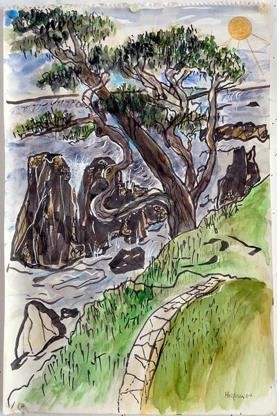 Larry Halprin Watercolor of Bluff Tree & Cormorant Rocks