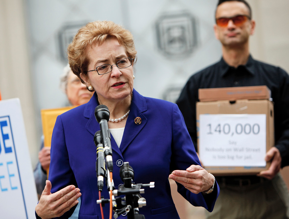 . Rep. Marcy Kaptur, D-Ohio, speaks during a news conference outside of the Justice Department in Washington, Wednesday, April 28, 2010,  before delivering  140,000 petition signatures to Attorney General Eric Holder asking for a criminal investigation of Goldman Sachs. (AP Photo/Haraz N. Ghanbari)