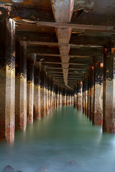 This curved pier at the end of Van Ness Avenue at Aquatic Park produced a different sort of pattern than you normally see under a pier.  This was taken on the other side of the pier from where #3 was made on a different day.