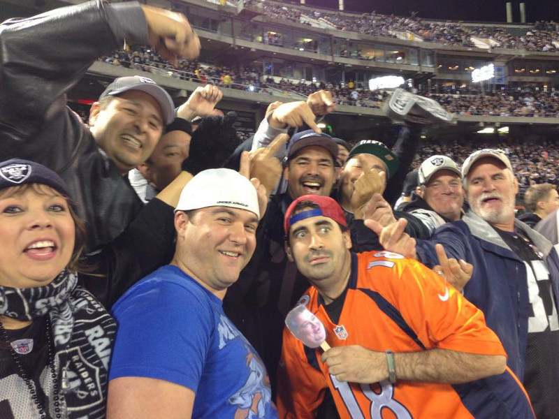 . Black Hole Row 1 We sat in the Black Hole Row 1 when the Broncos dominated the Raiders AND we survived! Nick Simington