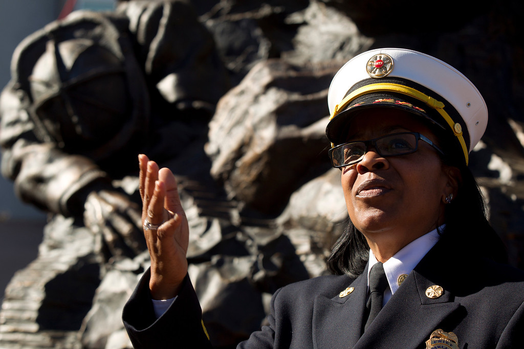 """. Oakland Fire Chief Teresa Deloach Reed speaks at a ceremony to dedicate the final section of \""""Remember Them,\"""" artist Mario Chiodo\'s paean to heroes of civil rights and humanity, Thursday, Feb. 21, 2013 in Oakland Calif. (D. Ross Cameron/Staff)"""