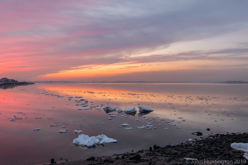 Ice flows through Jamaica Bay in Queens, New York.