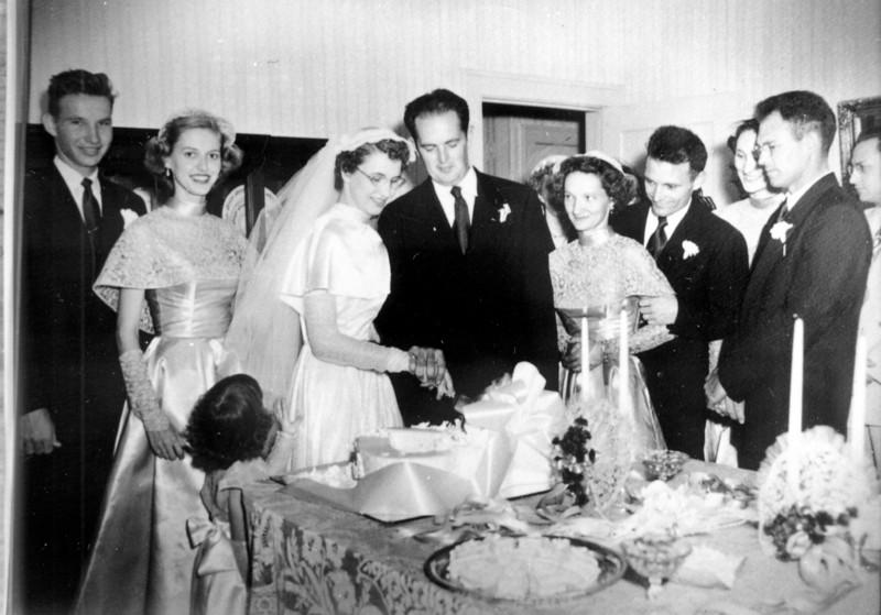 Cutting the Cake Walter 'Rip' Smock and Maria Jacob Wedding September 9, 1950