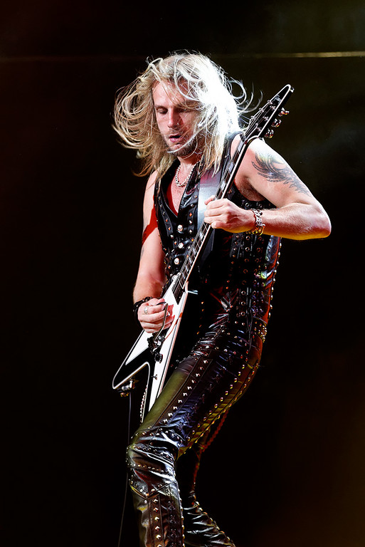 . Richie Faulkner of Judas Priest at The Fox on Oct. 19, 2014. Photo by Ken Settle