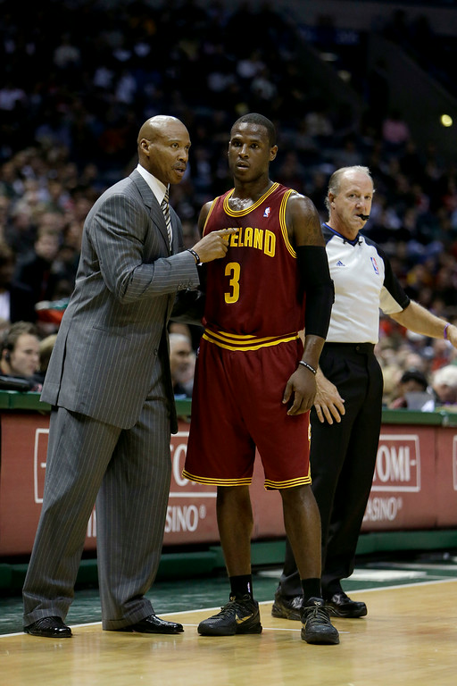 . Byron Scott of the Cleveland Cavaliers talks to Dion Waiters #3 during the game against the Milwaukee Bucks at Bradley Center on November 3, 2012 in Milwaukee, Wisconsin.  (Photo by Mike McGinnis/Getty Images)