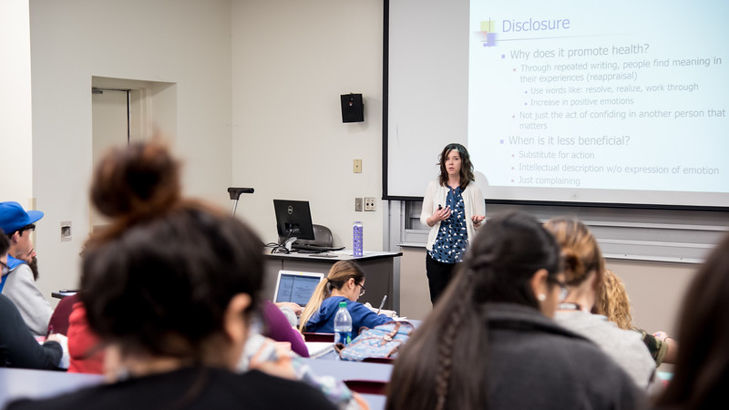 TAMUCC Dr. Houlihan lectures her class on the importance of stress management.