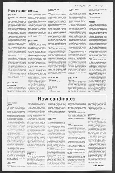 Daily Trojan, Vol. 71, No. 47, April 27, 1977