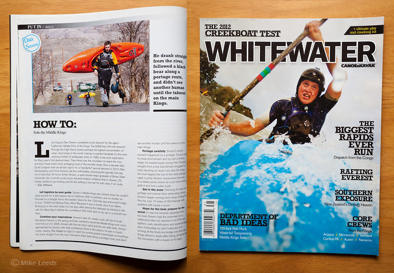 (photo left) Dan Simenc walking to Celestial Falls in Oregon. Canoe & Kayak Magazine  2012 Whitewater Annual