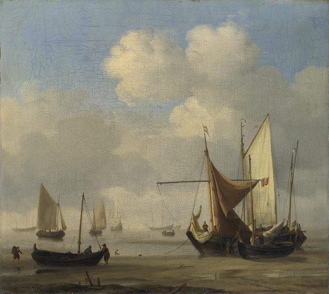 Small Dutch Vessels Aground at Low Water in a Calm