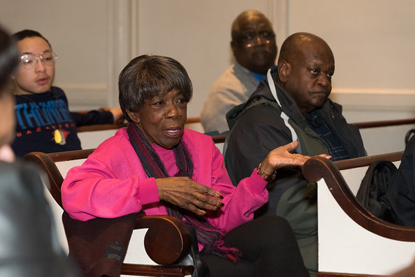 02/22/19 Wesley Bunnell   Staff The New Britain Branch of the NAACP held ann interactive health education discussion titled Where Do We Go From Here? at Peace Missionary Baptist Church at 90 Main St. Olga Callender of Bristol asks insurance questions from guest speaker Dr. Katrina Turner.
