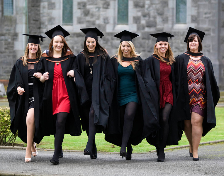 6/1/2012. News. Free to use image. Waterford Institute of Technology (WIT) conferring ceremony. Pictured are Nicola Reddy, Wexford, Magdalena Marek, Tipperary, Patricia O'Toole, Wexford, Lisa O'Mahoney, Wexford, Carol Kellegher, Letrim, and Vikki Walsh, Waterford. Photo Patrick Browne