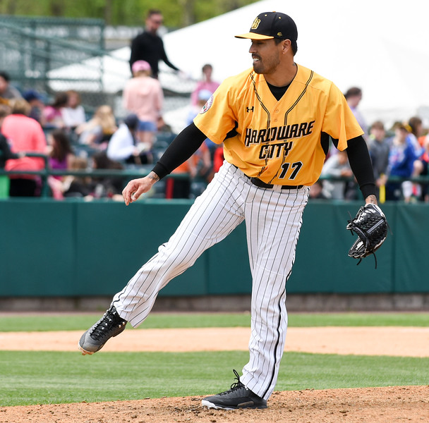 050317  Wesley Bunnell | Staff  New Britain Bees vs Somerset Patriots in a Wednesday morning game attended by areas school children. Brandon League (17) pitches in relief.