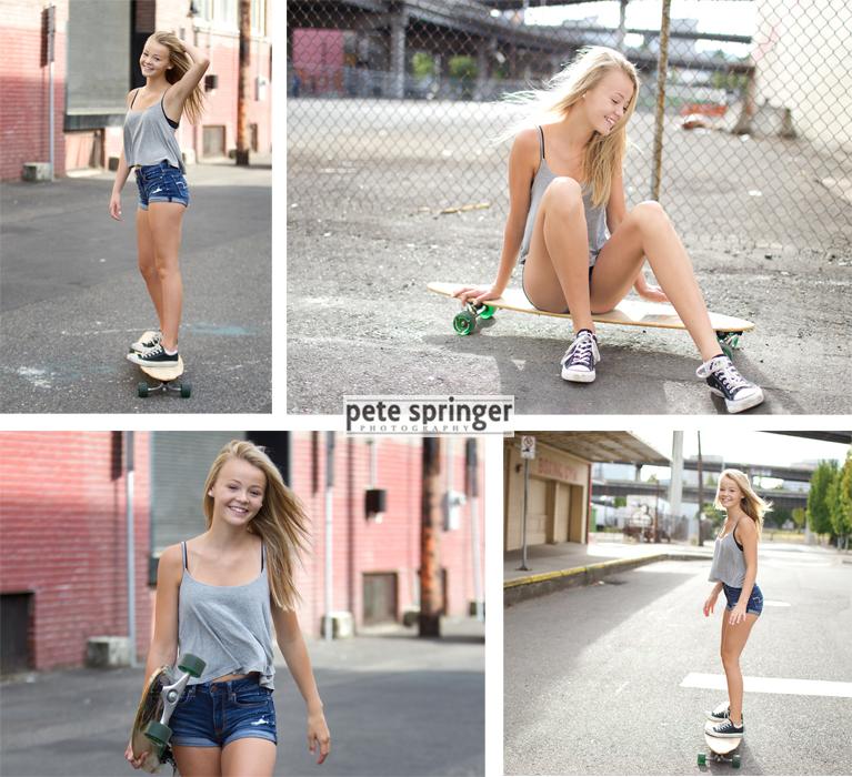 teen girl on longboard