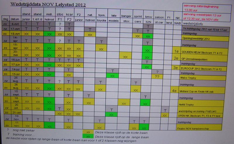 Agenda en klassen per dag Lelystad