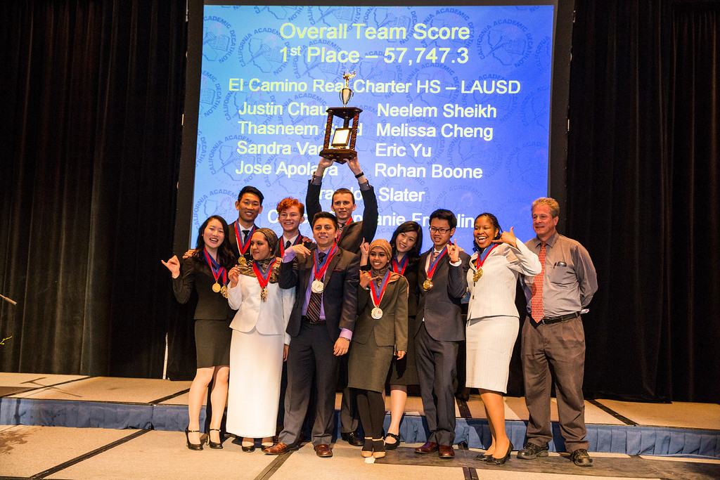 . 1st Place team of the 35th annual California Academic Decathlon from El Camino Real Charter High School\'s (Left to Right) Melissa Cheng, Eric Yu, Neelem Sheikh, Rohan Boone, Jose Apolaya, Brandon Slater, Thasneem Syed, Sandra Vadhin, Justin Chau, Coach Stephanie Franklin and LAUSD�s Academic Decathlon coordinator Cliff Ker, at the 35th annual California Academic Decathlon in Sacramento, California, U.S., on Sunday, March 23 2014. Ken James/LA Daily News
