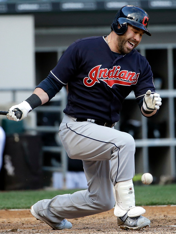 . Cleveland Indians\' Jason Kipnis reacts after hitting a foul during the seventh inning of a baseball game against the Chicago White Sox, Friday, April 8, 2016, in Chicago. (AP Photo/Nam Y. Huh)