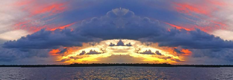 Multi coloured mixed cloudy coastal Sunset Seascape Panorama. Australia