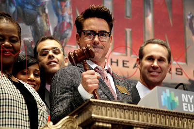 NEW YORK, NY - APRIL 30:  Robert Downey Jr. rings the opening bell at the New York Stock Exchange on April 30, 2013 in New York City.