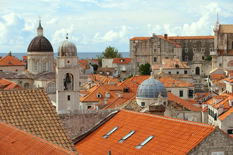 Domes of Dubrovnik - Cathedral of the Assumption (left), Clock Tower (middle) and St Blaise's Church (right)