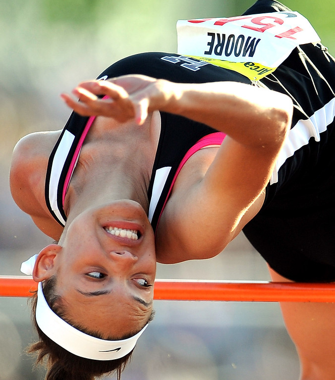 . Hamilton\'s Ashlee Moore competes in the high jump during the Arcadia Invitational at Arcadia High School on Saturday, April 6, 2013 in Arcadia, Calif.  (Keith Birmingham Pasadena Star-News)