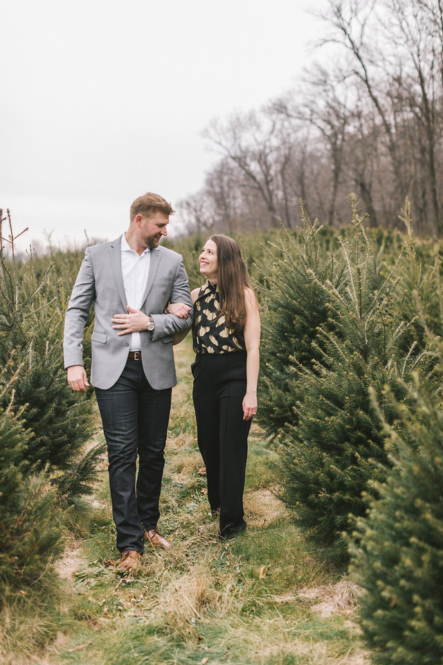Lizzie and Craig's Christmas tree engagement shoot at Graver Farm.