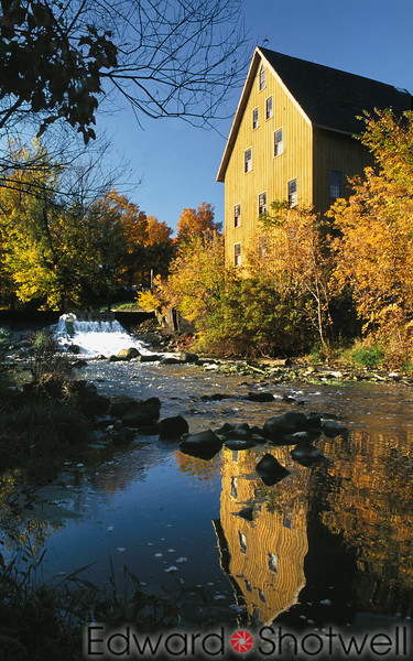 Old Bellevue Mill in full Fall Colors - Bellevue, Michigan