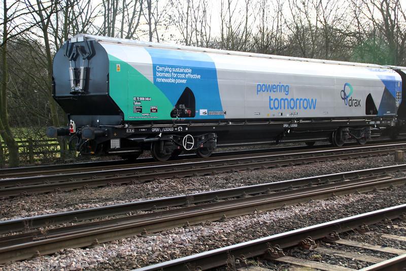 New Biomass Hopper in Drax vinyls 83700698040-8 seen at Hillam Gates crossing 27/12/13.
