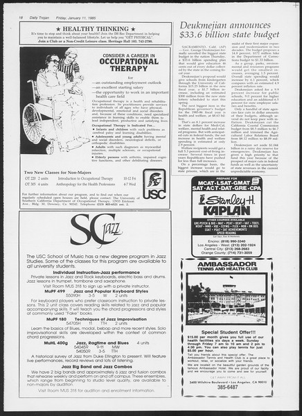 Daily Trojan, Vol. 98, No. 1, January 11, 1985