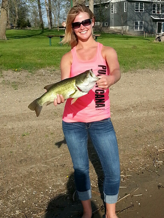 . Jenna Bistodeau of New Brighton caught this 3-pound largemouth bass Memorial Day weekend at Bistodeau\'s Old Woodland Park Resort in Henning on East Battle Lake. (Photo courtesy Jenna Bistodeau)