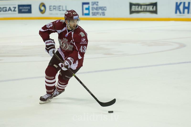 Tim Sestito (43) of Dinamo Riga controls the puck