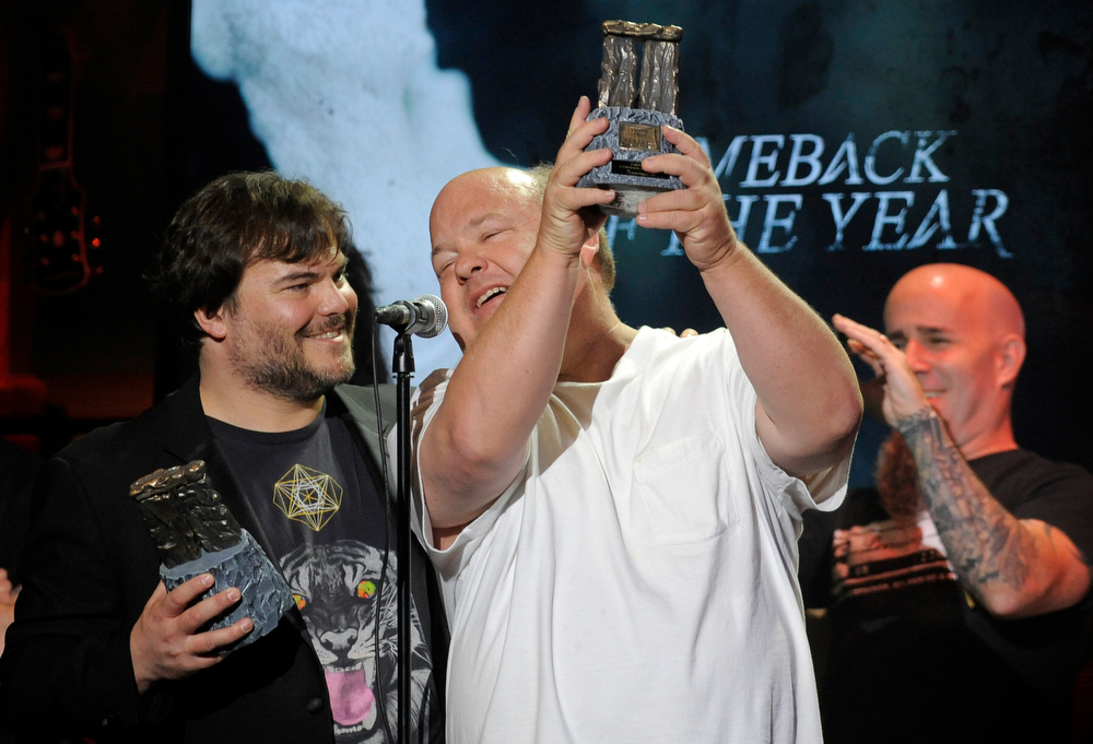 . Jack Black, left, and Kyle Gass of the band Tenacious D accept the Comeback of the Year award at the 2013 Revolver Golden Gods Award Show at Club Nokia on Thursday, May 2, 2013 in Los Angeles. (Photo by Chris Pizzello/Invision/AP)