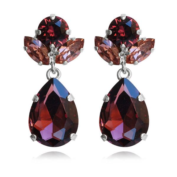 Isadora Earrings / Burgundy + Rose Blush / Rhodium