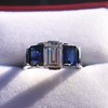 2.83ctw Vintage Emerald Diamond and Sapphire Trilogy Ring 19