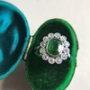 4.38ctw Art Deco Russian Demantoid & Diamond Cluster Ring 10