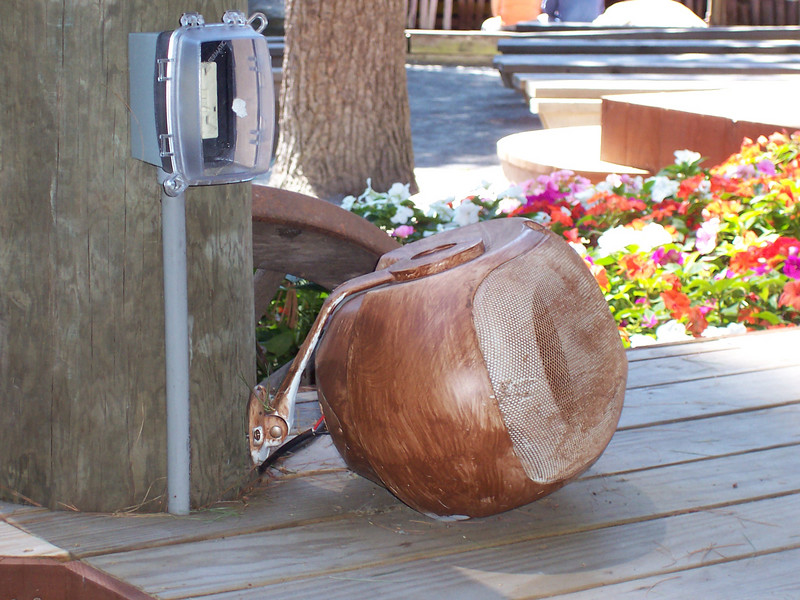 A wood-themed monitor speaker on the Western Stage.