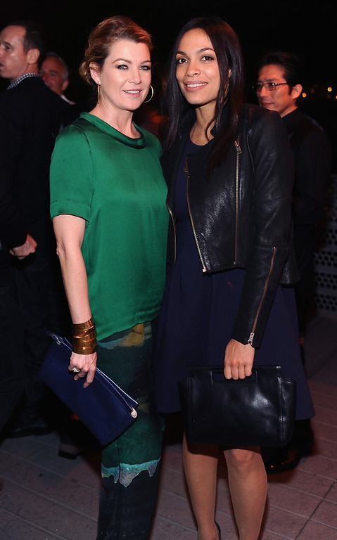 . Actresses Ellen Pompeo and Rosario Dawson attend Coach\'s 3rd Annual Evening of Cocktails and Shopping to Benefit the Children\'s Defense Fund hosted by Katie McGrath, J.J. Abrams and Bryan Burk at Bad Robot on April 10, 2013 in Santa Monica, California.  (Photo by Stefanie Keenan/Getty Images for Coach)