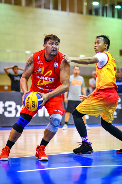 3 Stars v's MCDonalds Team in action during 3x3 Beat the Heat VIII Semi Final 2 at Qatar Basketball Federation Sports Complex 30th August 2019. Photo by Tom Kirkwood