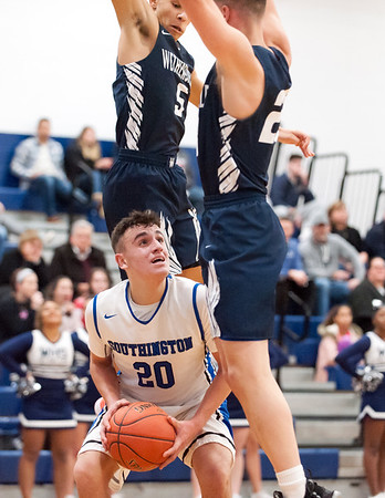 12/14/18 Wesley Bunnell | Staff Southington High School basketball vs Wethersfield on Friday night at Southington High School. Jake Napoli (20).